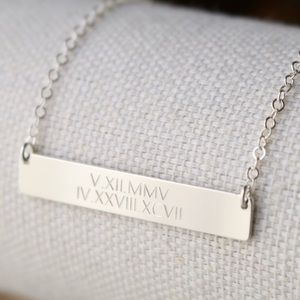 Jewelry - Sterling Silver Double Line Engraved Bar Necklace